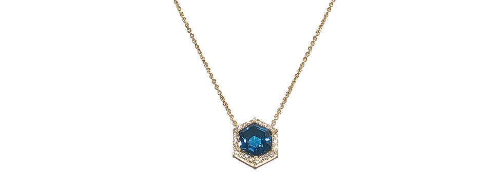 14KY London Blue Topaz & Diamond Necklace