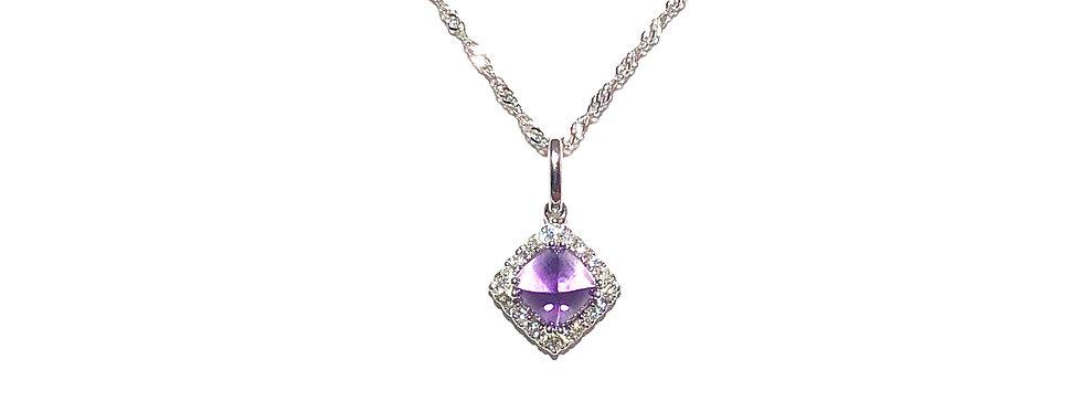 14KW Amethyst & Diamond Pendant