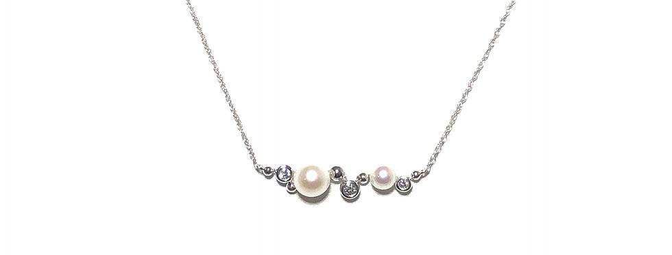 14KW Pearl & Diamond Necklace