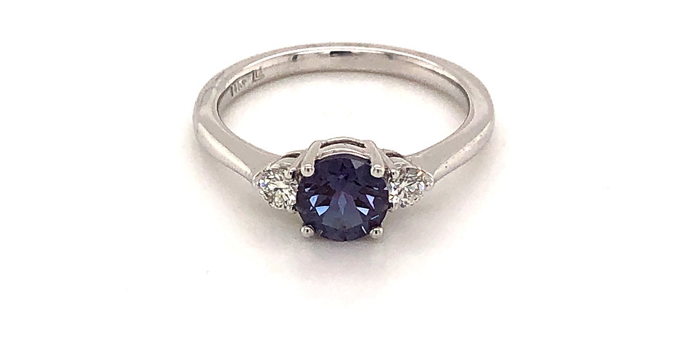 14KW Alexandrite and Diamond Ring