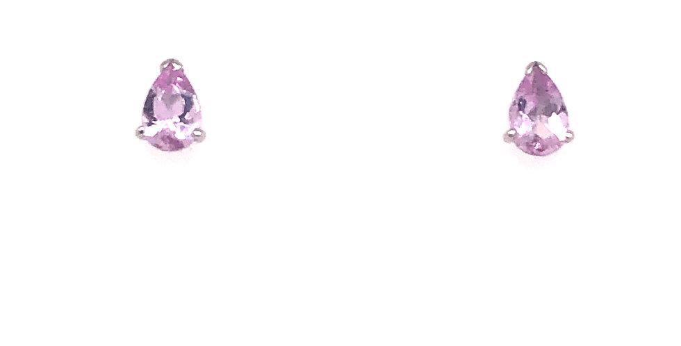 14KW Pink Topaz Earrings