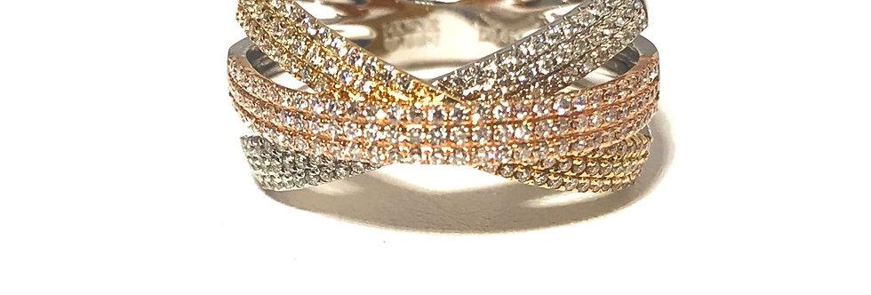 14K Tri-Tone Crossover Diamond Ring