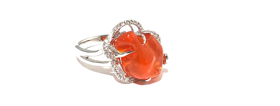 14K Mexican Fire Opal Ring