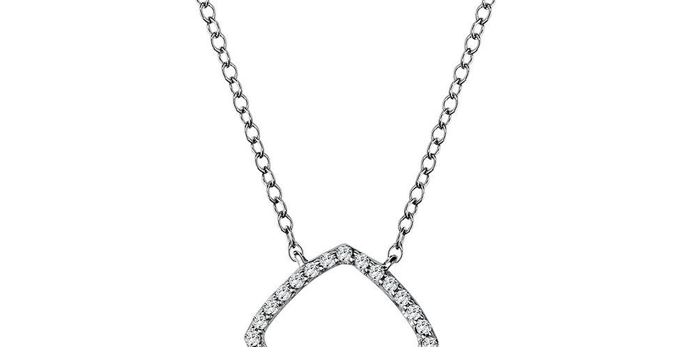 White Gold and Diamond Open Square Necklace