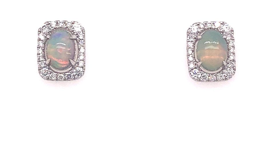 14KW Opal & Diamond Earrings