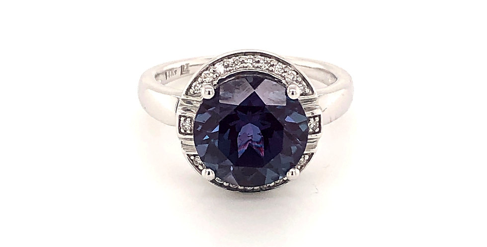 14KW Alexandrite and Diamond Halo Ring