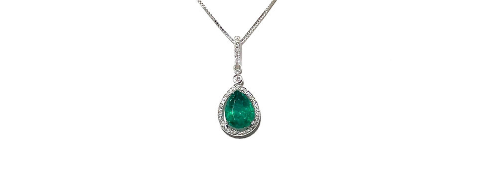 18KW Emerald & Diamond Pendant