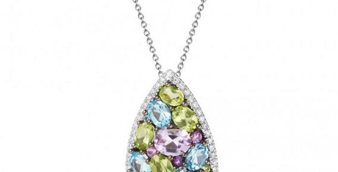Mixed Gemstone Cluster and Diamond Drop Pendant