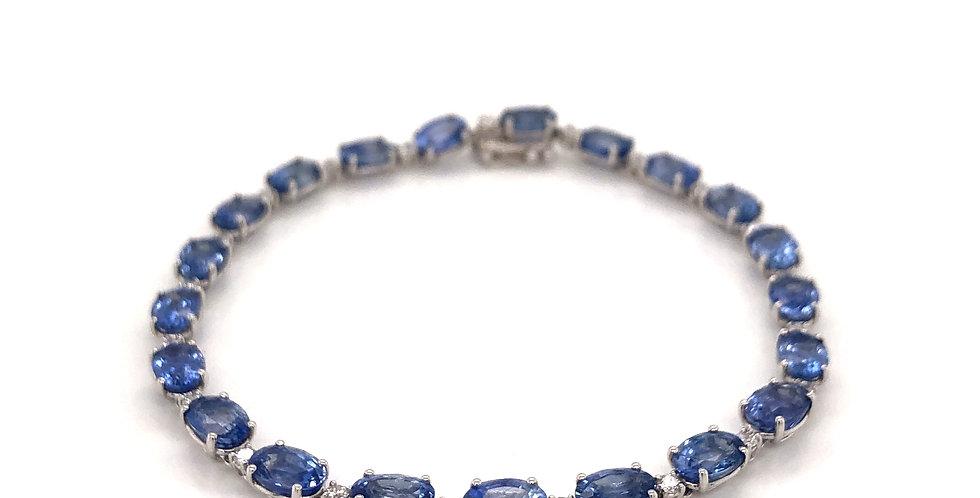 18KW Blue Sapphire & Diamond Bracelet