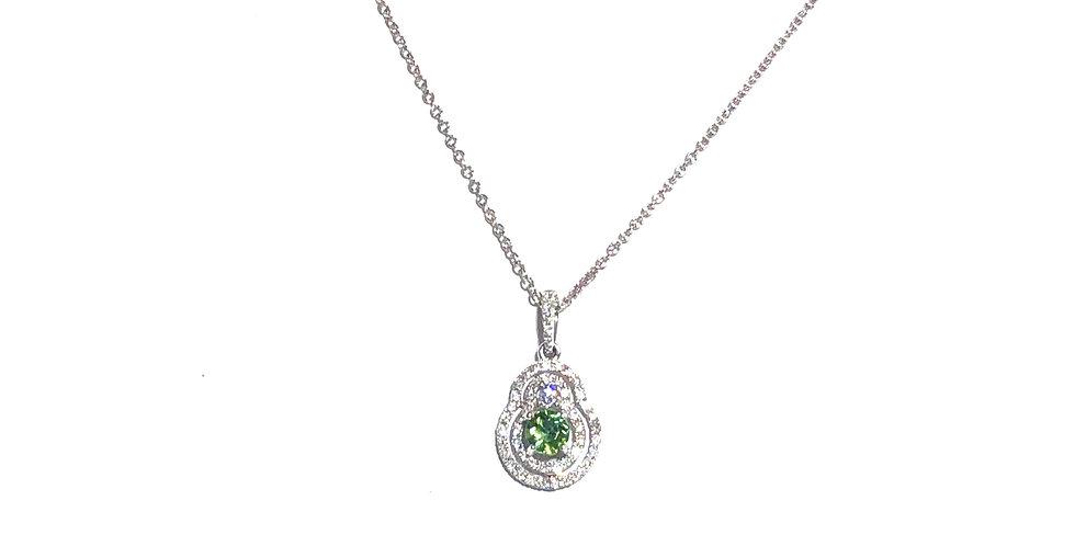 14KW Green Tourmaline & Diamond Necklace