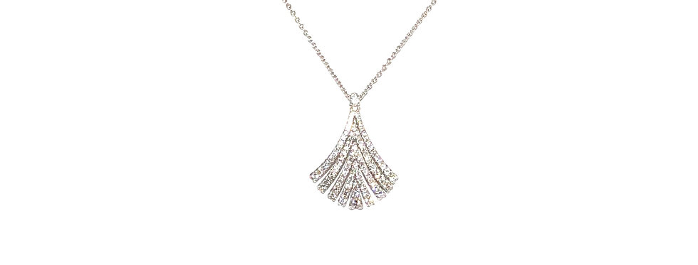 18KW Diamond Fan Necklace