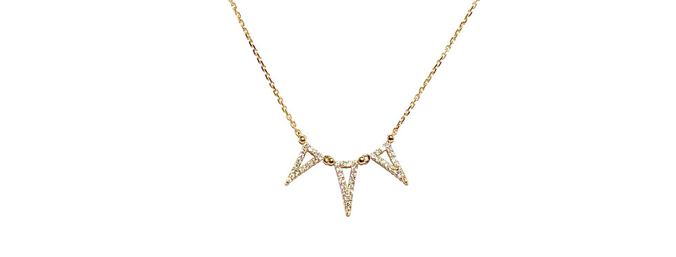 18KY Diamond Triangles Pendant