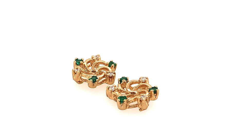 14KY Emerald & Diamond Earring Jackets