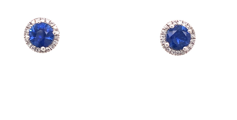 14KW Blue Sapphire & Diamond Earrings