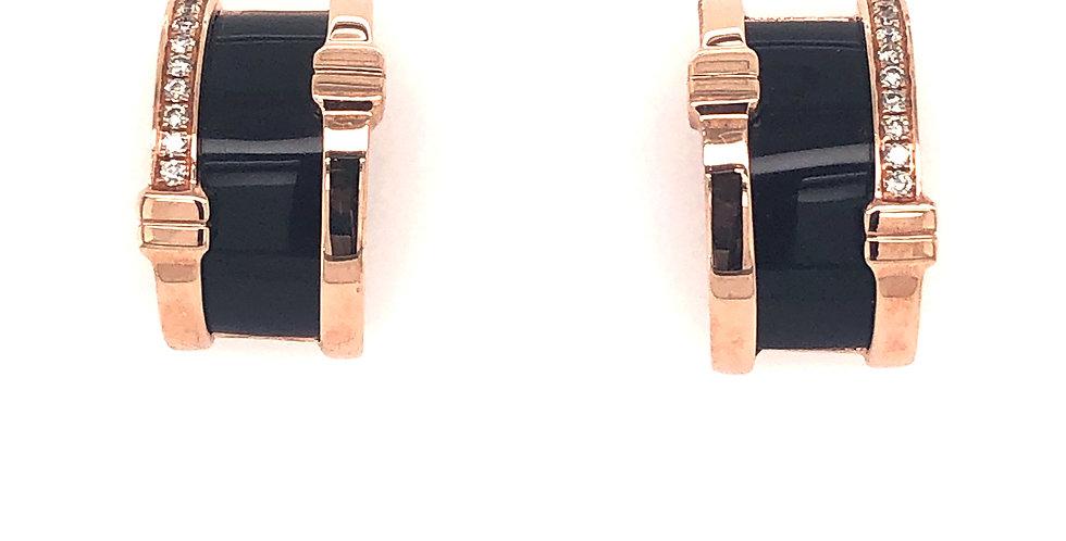 14KR Onyx & Diamond Earrings