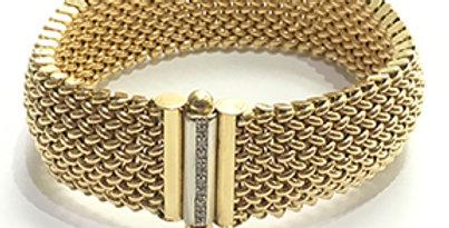 18KY Gold Mesh & Diamond Bracelet