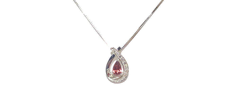 10KW Garnet & Diamond Pendant