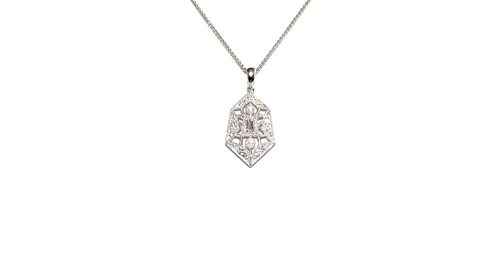 14KW Art Deco Diamond Pendant