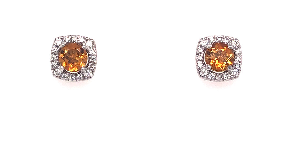14KW Citrine & Diamond Earrings