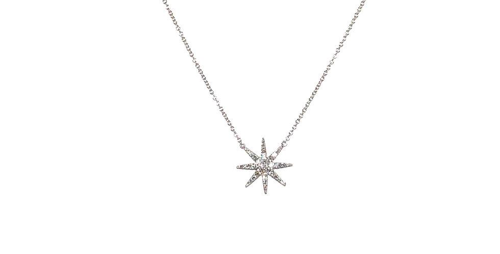 18KW Starburst Diamond Necklace