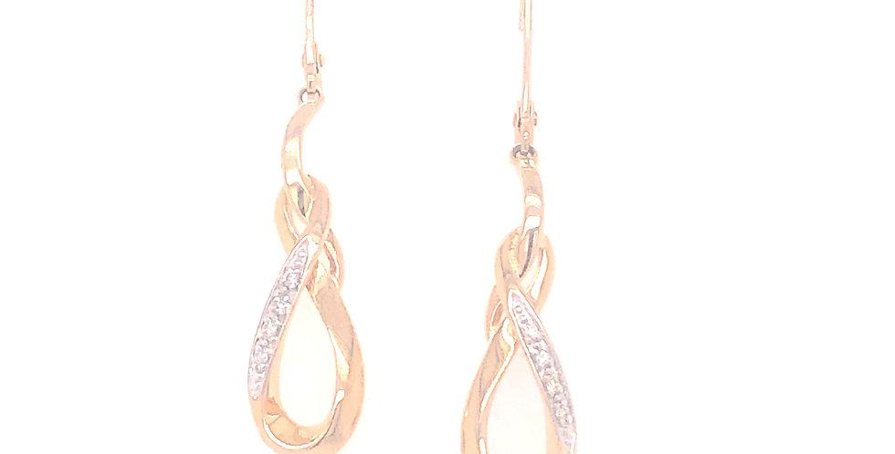 14KY Infinity Style Drop Earrings