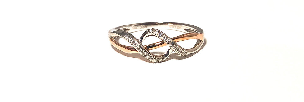 14K White & Rose Gold Ring with Diamonds