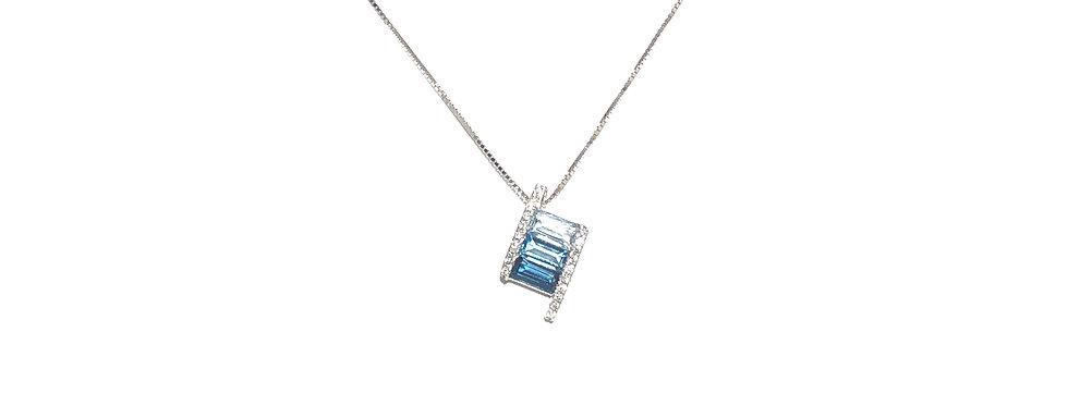 14KW Topaz & Diamond Pendant