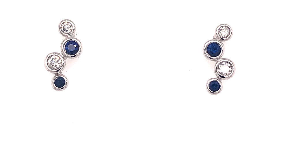 18KW Sapphire & Diamond Earrings