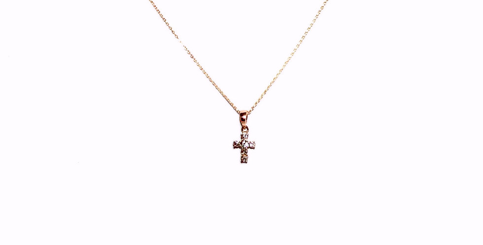14KR Diamond Cross Necklace