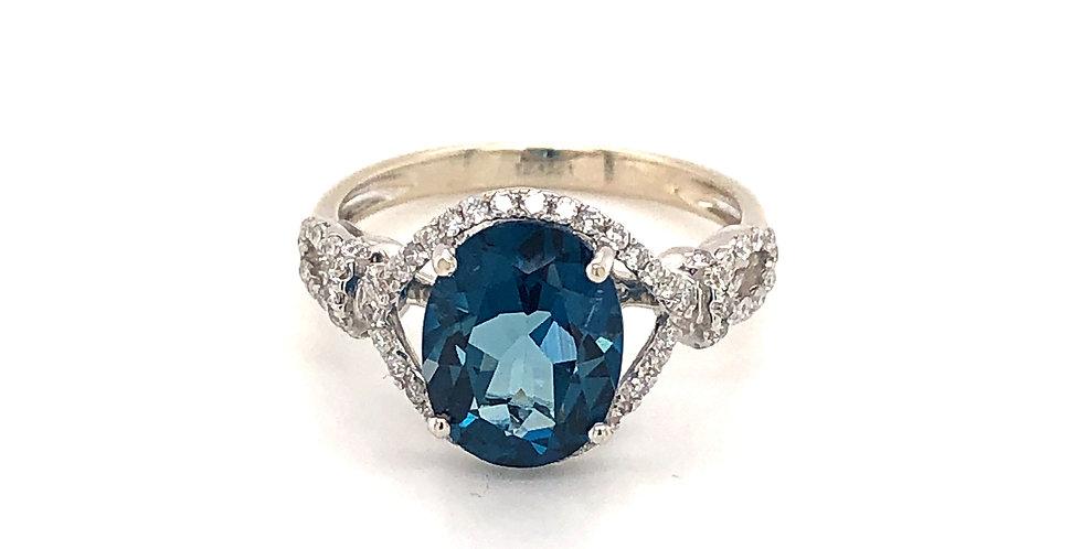 18KW London Blue Topaz and Diamond Ring