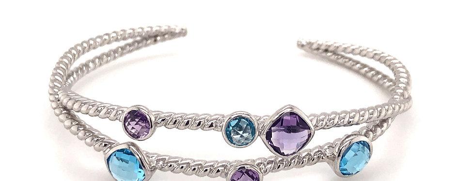 SS Amethyst & Blue Topaz Cuff Bracelet