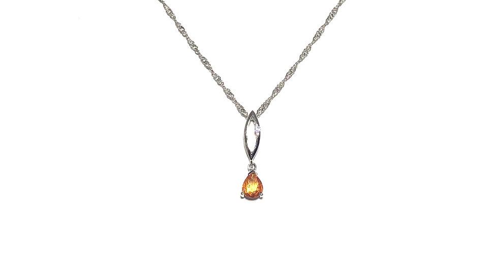 14KW Orange Sapphire Pendant