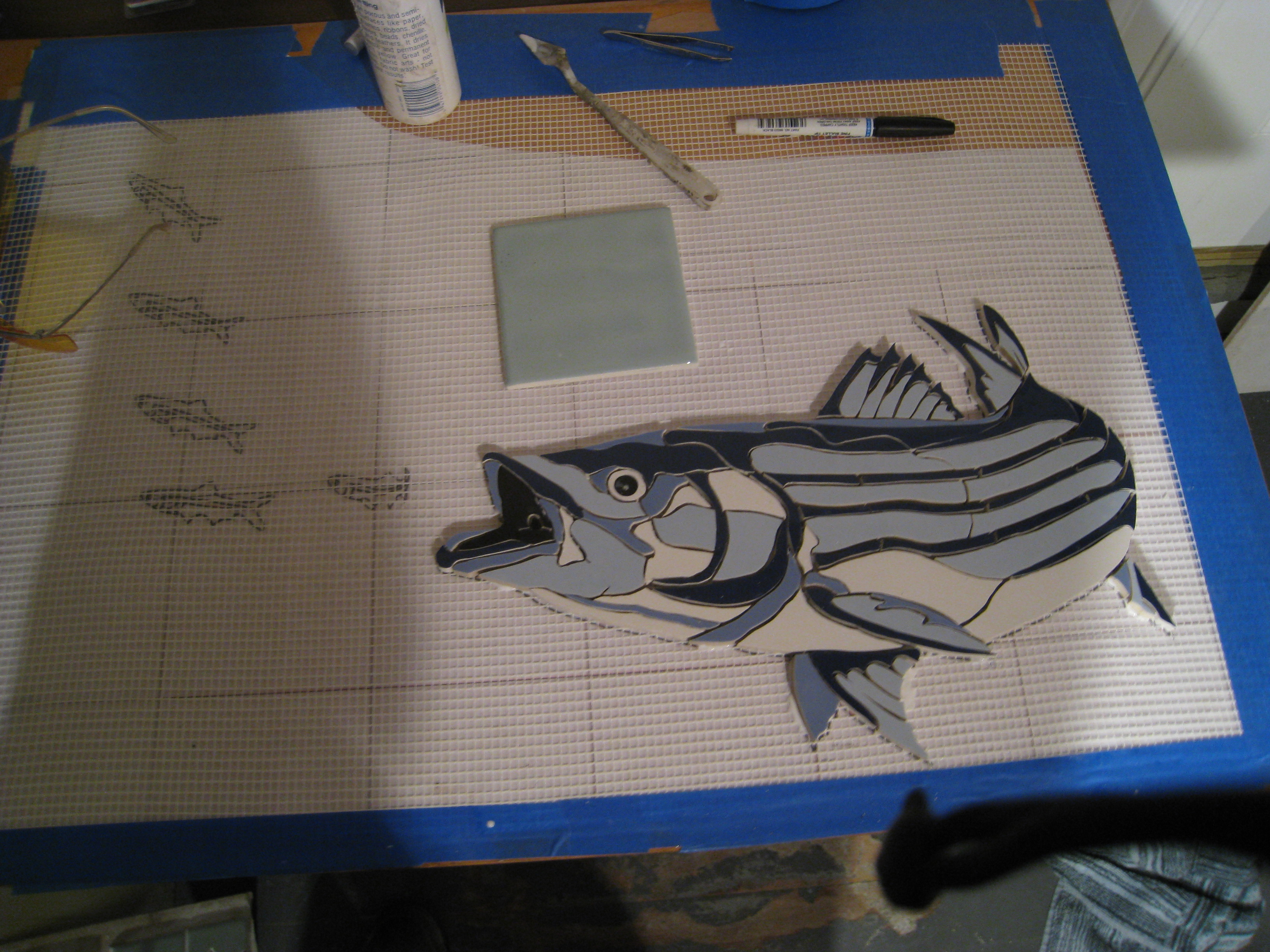 blue striper in progress