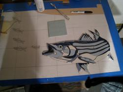 blue striper in progress