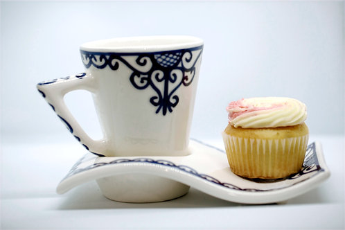 Artistic Mugs and large saucer