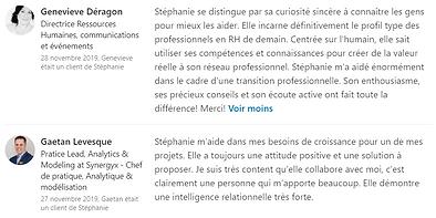 Références LinkedIn - Stéphanie Sauvé