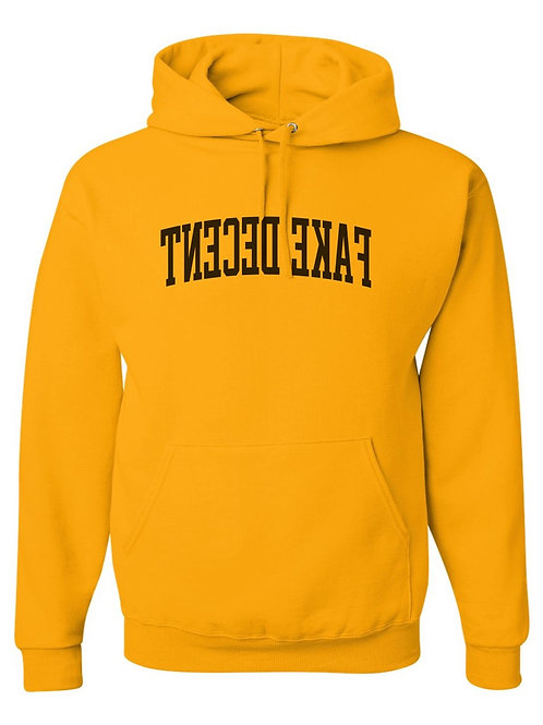 Yellow Fake Decent Varsity Hoodie