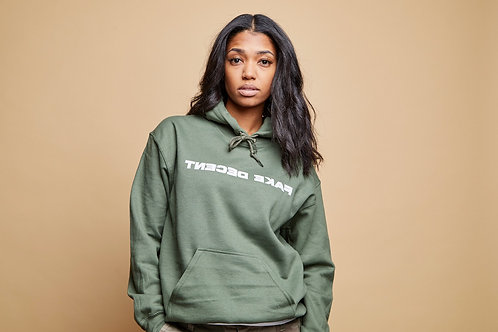 Olive Fake Decent Text Hoodie