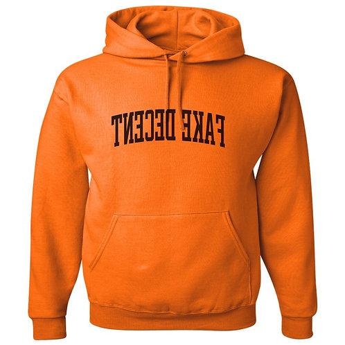 Orange Fake Decent Varsity Hoodie