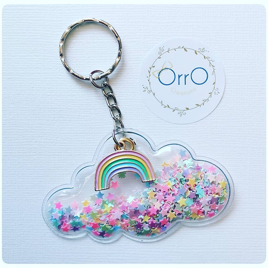 Rainbow and Glitter Key Rings
