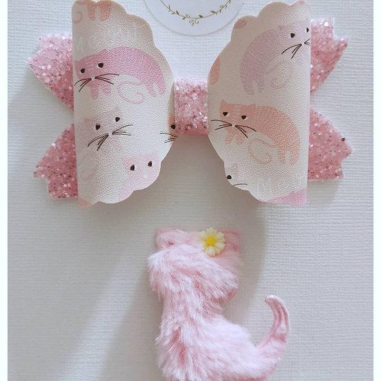 Kitten Bow and Pink Kitten Clip