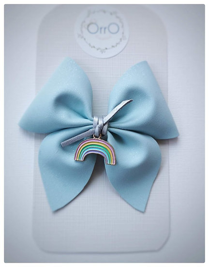 "3.5"" Blue Pinch Bow and Charm"