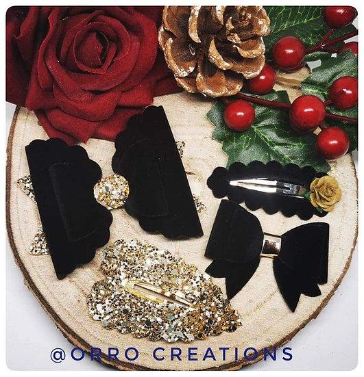 Black & Gold Velvet Glitter Hair Clip Set