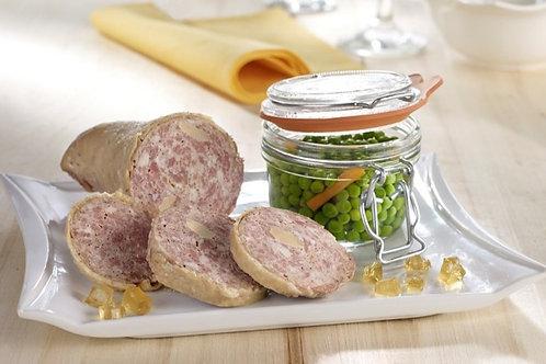 Saucisson cou d'oie et canard frais confit (fabrication maison)