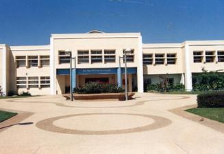 """High Schhol """"Rabin"""" entrance facade."""