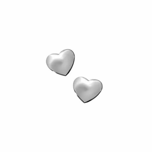 Silver Shiny Heart Stud Earrings
