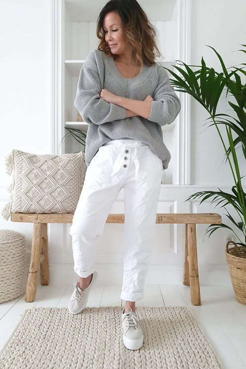 Perfect Joggers Buttons - White