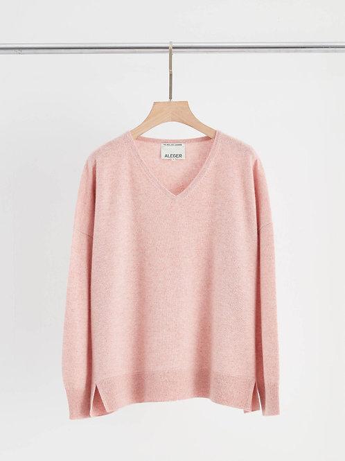 Cashmere Blend V neck Oversize Sweater - Blush