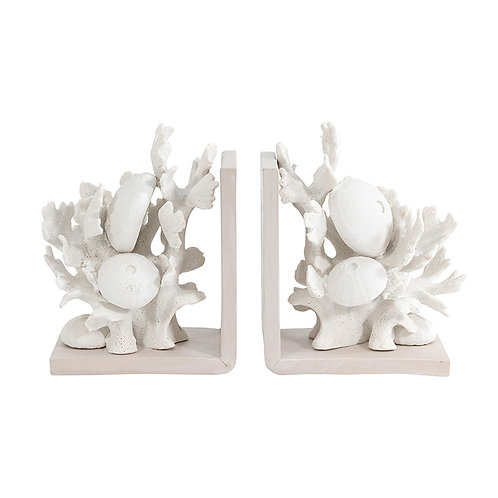 Wyatt White Wash Resin Coral Bookends
