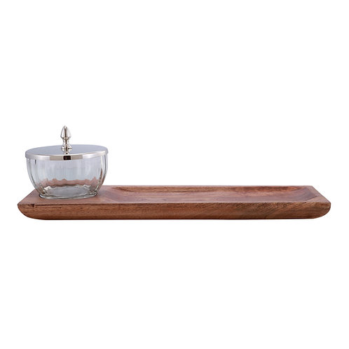 Nickel & Timber tray with glass